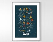 Personalized ENGLISH Space Alphabet Poster from A to Z, BIG POSTER 13x19 inches