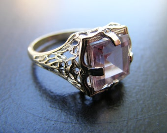 15% Off Sale.S224 New Antique Filigree Sterling Silver Ring with 3 carat Natural Amethyst Gemstone