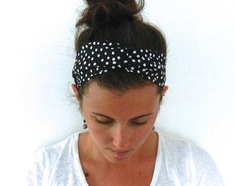 Black and White Polka Dot Turban Wrap Style Headband