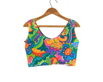 90's COLORFUL CROPPED TANK Top - Abstract / Summer / Bright / Trendy / Size Med to Large