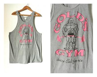 80's GOLD'S GYM TANK - Rare / Original / Venice Beach / California / Collectible / Hot Pink / Mens Size Small