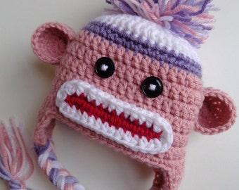 Newborn Girl Crochet Pink and Purple Sock Monkey Hat- baby girl baby boy photo prop