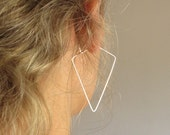 Triangle Earrings in Sterling Silver - Geometric Hoops - Modern Jewelry / Triangle hoop Earrings / GeometricEarrings /