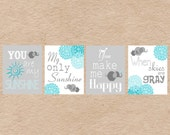 Elephant You Are My Sunshine Nursery Art DIY Printable-  Grey & Aqua