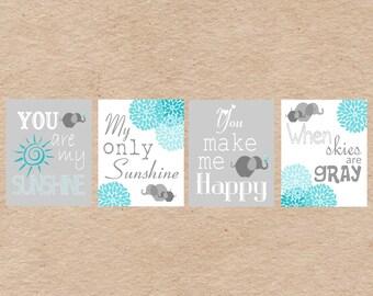 Elephant You Are My Sunshine Nursery Art DIY Printable-  Grey & Aqua