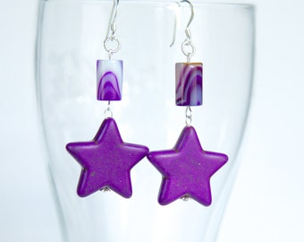 Sterling silver purple ear-rings with star shaped howlite turquoise and striped agate, modern, sterling silver earrings