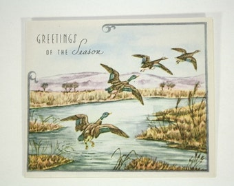 Vintage Christmas Card - 1940s Holiday Greeting Card - Christmas Decorations - Mild Winter, Ducks on a Pond, Hunting