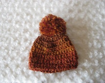 Crochet Baby Hat  Chunky Textured Beanie  Pom Pom Rust Orange Brown Ombre