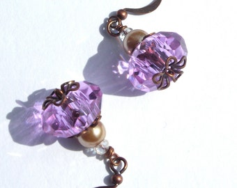 Purple Czech Glass Earrings with Pearls and Copper