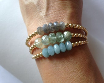 "Gold Filled Beaded ""Grace"" Gemstone Bracelets"
