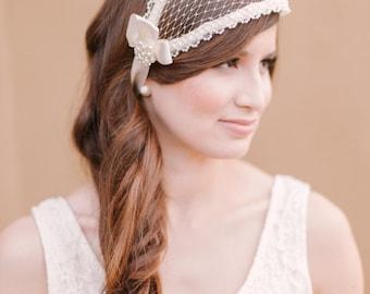 Juliette cap bridal cap veil ivory bridal cap Art deco cap wedding cap