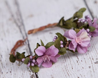 Purple Flower halo Wreath Woodsy headband, NB to 6 Months,  photography prop
