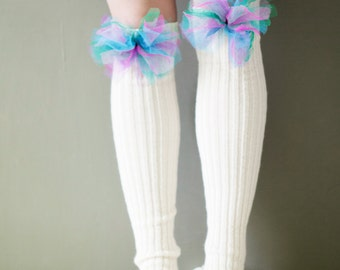 White / leg warmers very long knitted decorated comfortable with colourful tulle ribbon accessories women fantasy clothing legwear