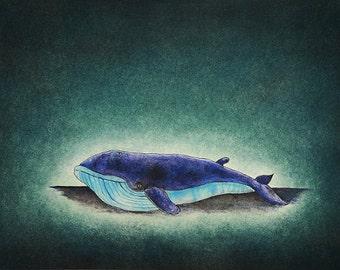 "Art print // Blue whale // ""Desolate loneliness"""