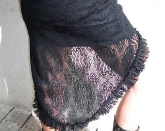 Lace Black Skirt, Sheer Gypsy Skirt, Black Skirt