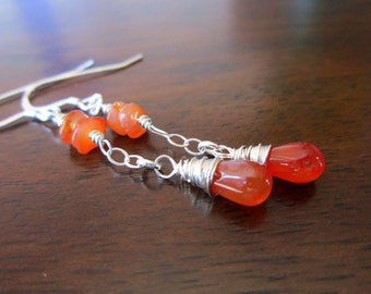 Sterling Orange Carnelian Earrings, Wire Wrapped Dangle Earrings