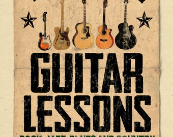 """your name on a personalized Guitar Instructor/Lessons Poster - 12""""x18"""" - gift"""