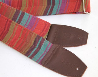 Guitar Strap in Moroccan Stripe with Chocolate Brown Leather Ends