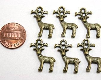 12 pcs Antique Bronze Deer Charms - 24mm tall