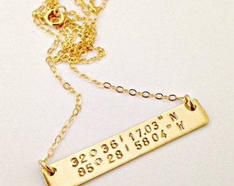 Gold Filled Custom Latitude & Longitude Bar Necklace - Personalized Jewelry - Celebrity Inspired Trendy Hand Stamped Bar Pendant - Large Tag