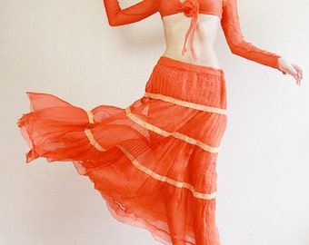 Orange red pure silk tiered maxi skirt and top belly dancer set