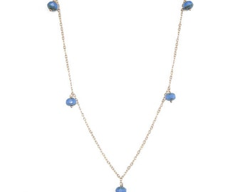 Necklace with Faceted Blue Czech Glass Beads