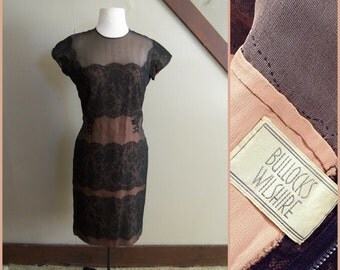 The Dark Silhouette 1950s Short Sleeve Black/Peach Lace Panel/Illusion Wiggle Dress with Floral Applique AS IS