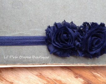 NAVY HEADBAND, Baby headband, Infant Headbands, Headbands for Babies, Shabby Headbands, Birthday Headband, Newborn Headbands, Photo Prop