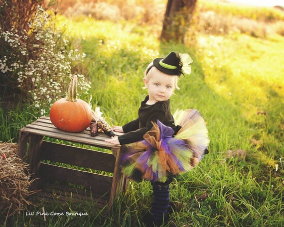 BABY WITCH COSTUME, 3 pc set, Tutu, Legwarmers, Mini Witch Hat/Headband, Halloween Costume, Witch Costume, Baby Halloween Costume, Witch