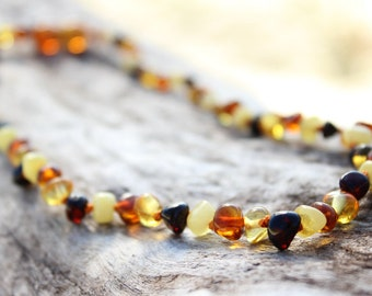 Rainbow Amber Teething necklace for babies