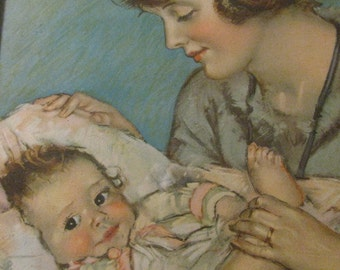 1930s Maud Tousey Fangel Litho Mother and Baby Orig Framed Seattle Art Co FREE USA Shipping, Insurance and Tracking Included in Price