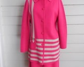 Fantastic 1960s Marco Polo three piece skirt suit set / Large to Plus Size vintage hot pink mod suit / striped jacket and skirt set