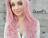 SUMMER SALE // Lace Front Wig, Rose Petal Pink Hair, Pin Up Hair Style, Long Wavy Natural Hair, Full Body Curly, Pastel Lolita