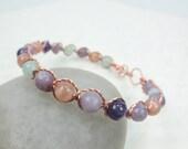 Copper or Red Brass Bracelet, Lepidolite, Peach Moonstone, Amethyst, Aquamarine Gemstones Healing Crystal Bracelet (#281)