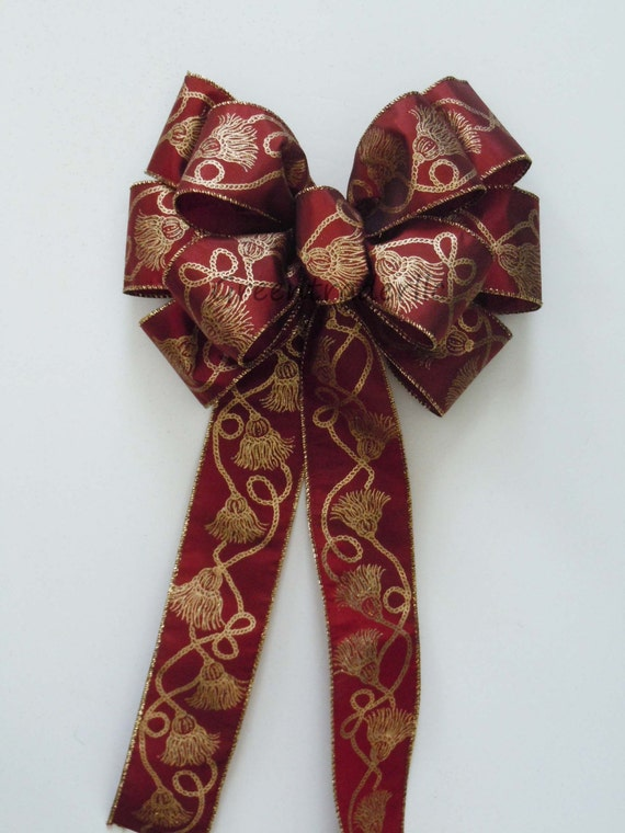 Burgundy Gold Christmas Bows Burgundy Gold Christmas door hanger Christmas Wreath Bows Wedding Pew Bows Christmas Banisters Decorative Bows