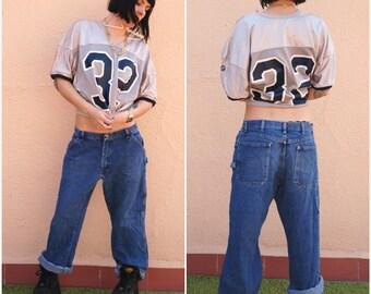 Vintage 90s Hip Hop Pants / Blue denim Oversized  Dungarees -  /  Clubkid / Cyber Punk / Industrial