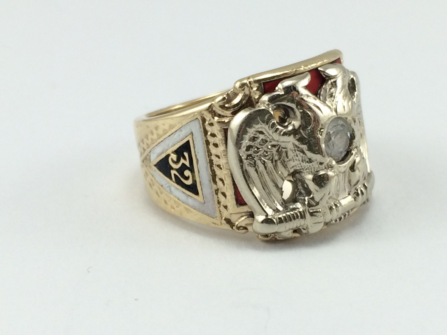 Men S Masonic Ring Double Headed Eagle Diamond And Red
