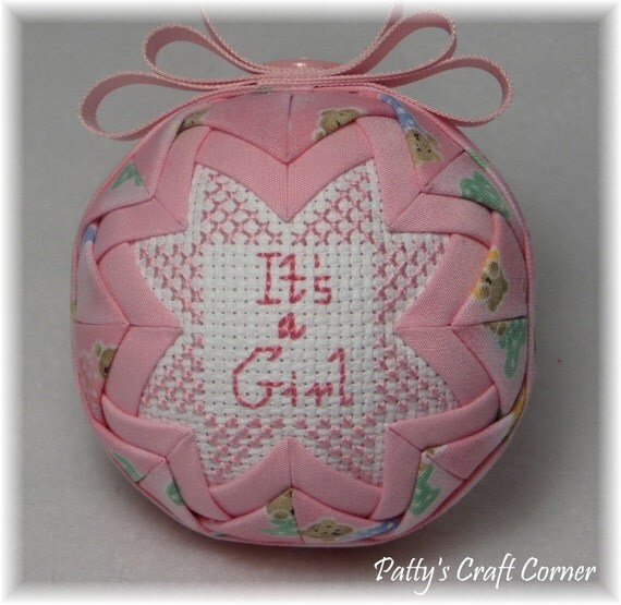 Quilted Keepsake Ornament - Its A Girl with Teddy Bear