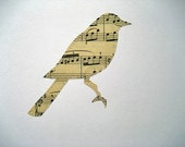 A SONG BIRD - hand made from Vintage Sheet music