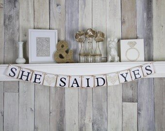 Engagement party Banner, Engagement Party Idea, She Said Yes Banner, Bridal Shower Banner, Hens Party