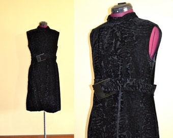 1960s Vintage Samuel Winston Designer Black Velvet Mod Dress size M L bust 38