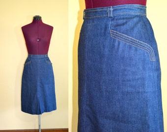 1970s Vintage Karen Silton Denim Jean Skirt size 6 (XS S) waist 24