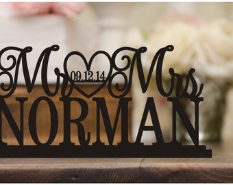 Custom Wedding Table Sign with Your Last Name and Wedding Date - Wedding Cake Table Sign - 0050