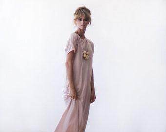 T-shirt blush pink maxi summer dress , Short sleeves summer pink dress