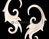 10G Pair Mother of Pearl Wisteria Spiral Earring Plugs Organic Body Piercing Jewelry 10 gauge