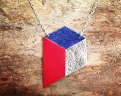 Geometric necklace - silver, red and blue on bronze chain - minimalist graphic jewellery - upcycled handmade leather jewellery by DustyDoes