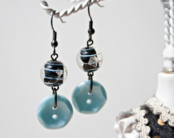 Sky blue button and glass bead long dangle earrings