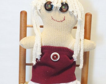 Button Eyed Rag Doll, Plush Doll, Stuffed Doll, Made in the USA