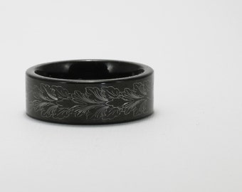 Feather Leaf Black Tungsten Men's Band 8.35mm Wide
