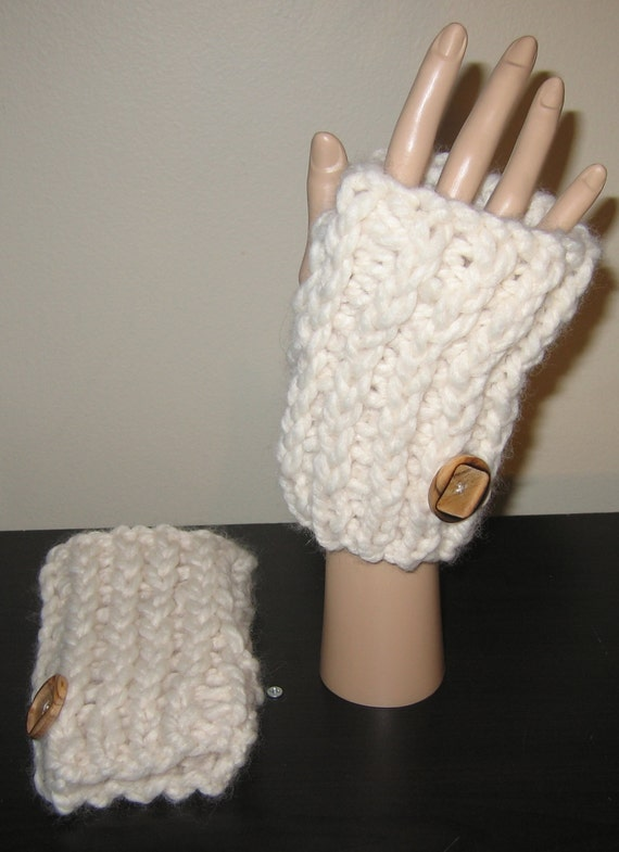 Chunky Hand Knit Fingerless Gloves Arm Warmers Pattern